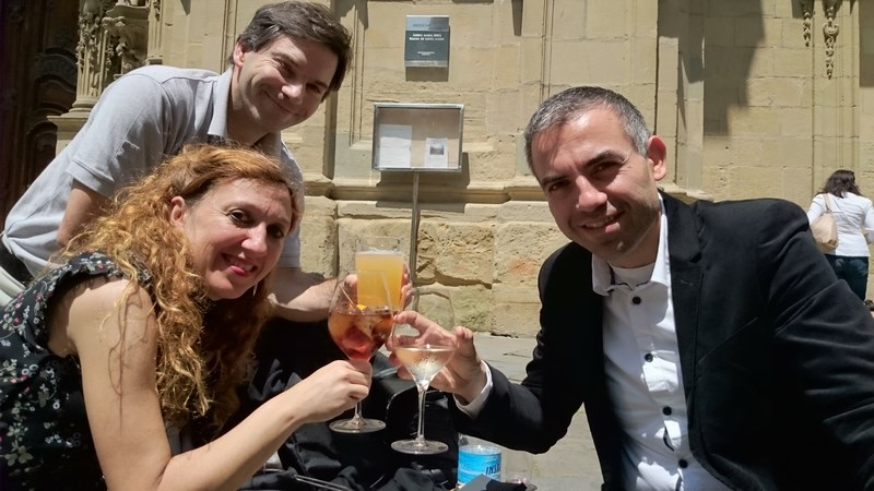 Loreto Aramendi, Dominique Pérarnaud et Willy Ippolito après le concert donné à la Basilica del coro de San Sebastian