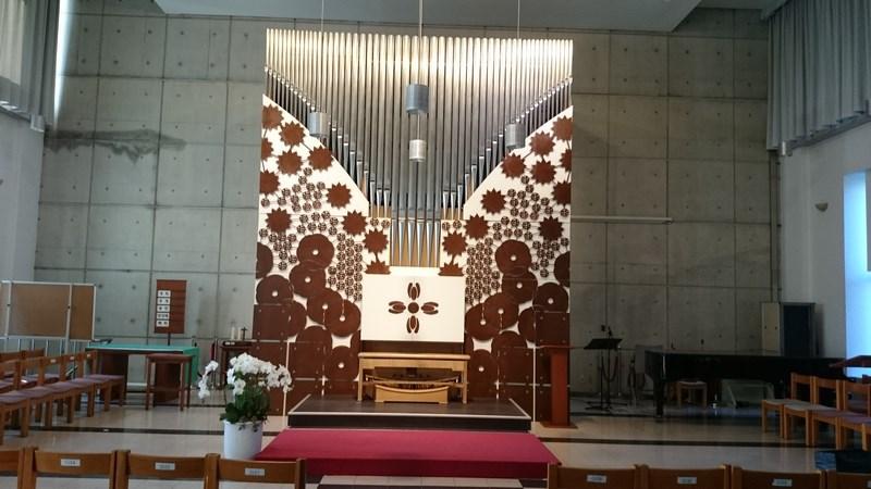 vue plus éloignée de l'orgue de Michel Jurine de l'université Seongkonghoe de Séoul