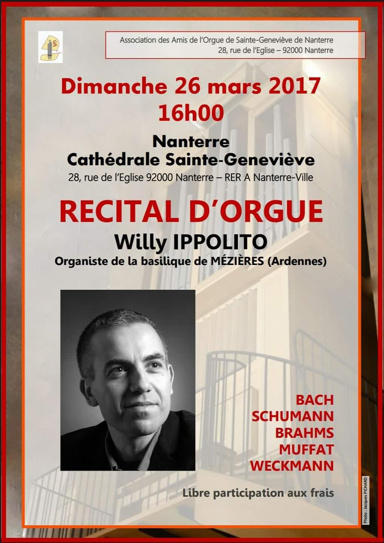 Affiche du concert de Willy Ippolito à la Cathédrale de Nanterre